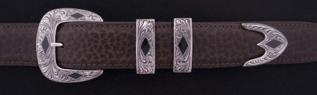 "1881BJ ENGRAVED STONE DIAMONDS with Black Jade Inlay 4-Pc Buckle Set for 1 1/4"" belts $995.00. Smaller Combinations Available by Special order. - Santa Fe Buckle Company"