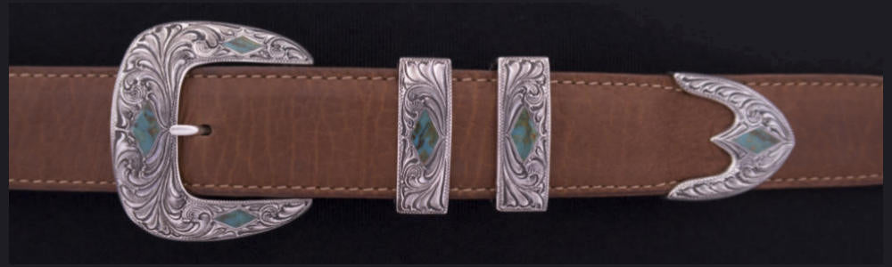 "#1881T ENGRAVED STONE DIAMONDS with Turquoise Inlay 4-Pc Buckle Set for 1 1/4"" belts $995.00. Smaller Combinations Available by Special order. - Santa Fe Buckle Company"