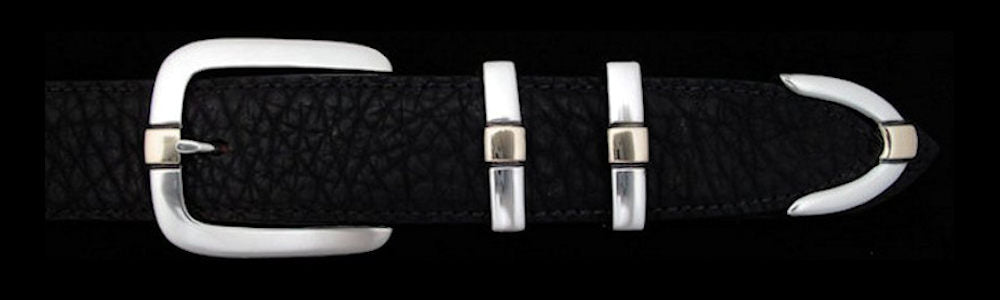 "#0191G PARALLEL DOUBLE KEEPER with 14k Gold Overlay Buckle Set for 1 1/4"" belts from $245.00 for the single buckle to $745.00 for the 4 pc set. Extra tips are available for $190.00 - Santa Fe Buckle Company"