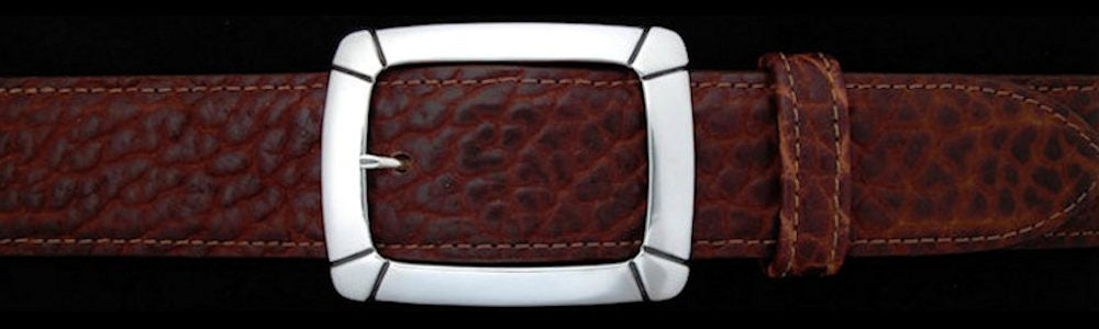 "#0195 CLASSIC GARRISON with OVERLAY Single Buckle for 1 1/2"" belts $385.00 - Santa Fe Buckle Company"