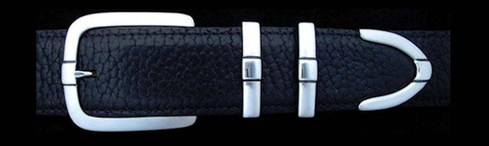 "#0198 PARALLEL DOUBLE KEEPER Buckle Set for 1 1/2"" belts from $175.00 for the single buckle to $460.00 for the 4 pc set. Extra tips are available for $135.00 - Santa Fe Buckle Company"
