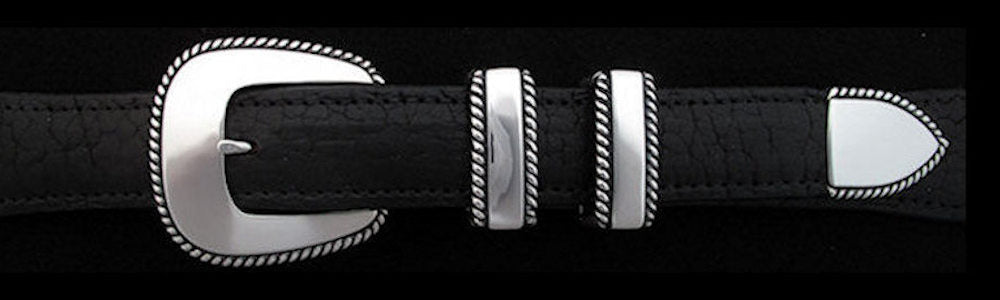 "#0202 HEAVY ROPE EDGE Buckle Set for 1"" belts from $160.00 for the single buckle to $460.00 for the 4 pc set. Extra tips are available for $100.00 - Santa Fe Buckle Company"