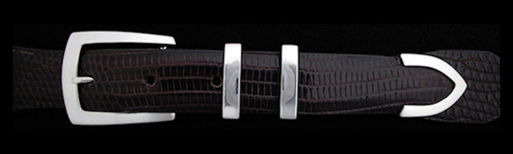"#0205 DK2  DOUBLE KEEPER Buckle Set for 1"" belts from $115.00 for the single buckle to $285.00 for the 4 pc set. Extra tips are available for $70.00 - Santa Fe Buckle Company"