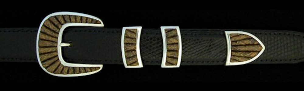 "#2157FJ COBBLED FRAMED STONE with FOSSILIZED JASPER 4pc Buckle Set for 1"" belts $1155.00. Special Order Extra Tip $325.00"
