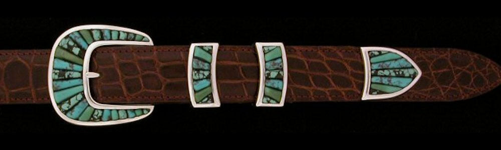"#2157MT COBBLED FRAMED STONE with MULTI TURQUOISE 4pc Buckle Set for 1"" belts $1155.00. Special Order Extra Tip $325.00 - Santa Fe Buckle Company"