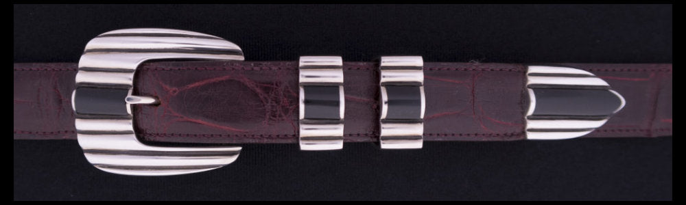 "#2171BJ  STONE CADDY '56  with Black Jade Cabs 4 Pc Buckle Set for 1"" belts $795.00. Special Order Extra Tip $195.00"