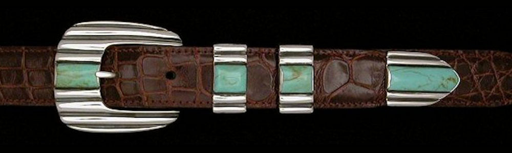 "#2171T  STONE CADDY '56  with Turquoise Cabs 4 Pc Buckle Set for 1"" belts $795.00. Special Order Extra Tip $185.00 - Santa Fe Buckle Company"