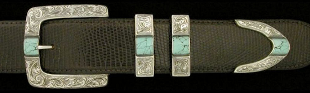 "#2877T ENGRAVED PARALLEL SQUARE  with Turquoise Cabs 4 Pc Buckle Set for 1 1/2"" belts. On SALE $1095.00. (Sold as complete set only) - Santa Fe Buckle Company"