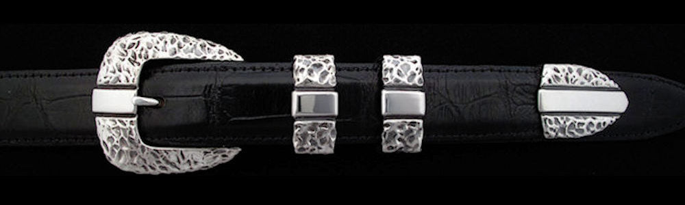 "#0453 RIVER TEXTURED PARALLEL Buckle Set for 1"" belts from $155.00 for the single buckle to $445.00 for the 4 pc set. Extra tips are available for $110.00 - Santa Fe Buckle Company"