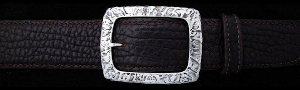 "#0494 RIVER TEXTURED CLASSIC GARRISON Single Buckle for 1 1/2"" belts $375 - Santa Fe Buckle Company"