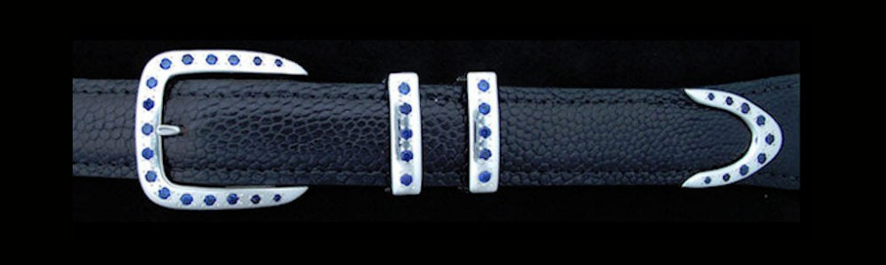 "#5170 DOUBLE KEEPER with 36 Sapphire CZ's 4 Pc Buckle Set for 1"" belts $895.00. Special order Extra Tip $225.00 - Santa Fe Buckle Company"