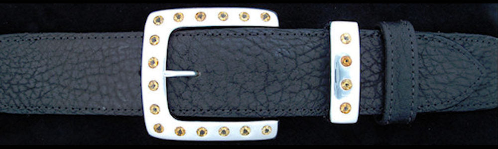 "#5174 CLASSIC SQUARE  with 20 Golden Citrine (5mm)  2 Pc Buckle Set for 1 1/2"" belts $1175.00 - Santa Fe Buckle Company"