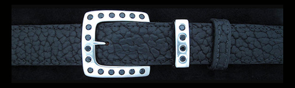 "#5176 CLASSIC SQUARE with 20 Black Spinel (5mm) 2 Pc Buckle Set for 1 1/4"" belts $955.00 - Santa Fe Buckle Company"