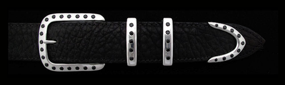 "#5190 DOUBLE KEEPER with 38 Black Spinel (5mm) 4 Pc Buckle Set for 1 1/4"" belts $995.00. Special Order Extra Tip $245.00"