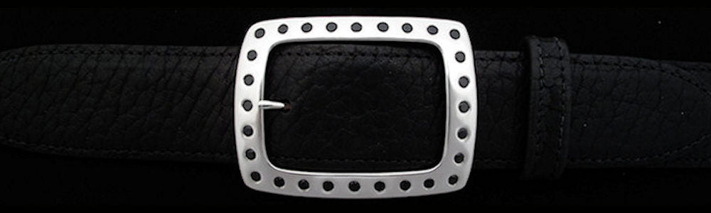 "#5194 CLASSIC GARRISON with 28 Black Spinel (4mm) Single Buckle for 1 1/2"" belts $1175.00 - Santa Fe Buckle Company"