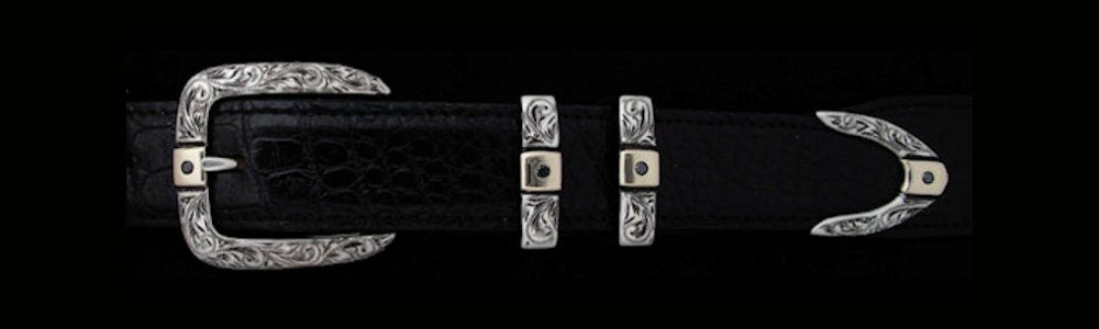 "#5875G ENGRAVED PARALLEL DOUBLE KEEPER with 4 Black Diamonds (.5k total) with Gold Overlay 4 Pc Buckle Set for 1"" belts. On SALE $1065.00. (Sold as complete set only) - Santa Fe Buckle Company"