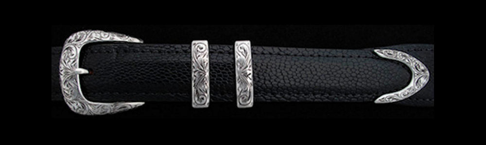 "#0838 ENGRAVED MIDLAND Buckle Set for 1"" Belts $415.00 for the 4-Pc Set. Smaller Combinations available by Special Order."