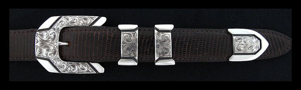 "#0844 ENGRAVED METRO 4 pc Buckle Set for 1"" belts. On SALE $495.00 (Sold as complete set only) - Santa Fe Buckle Company"