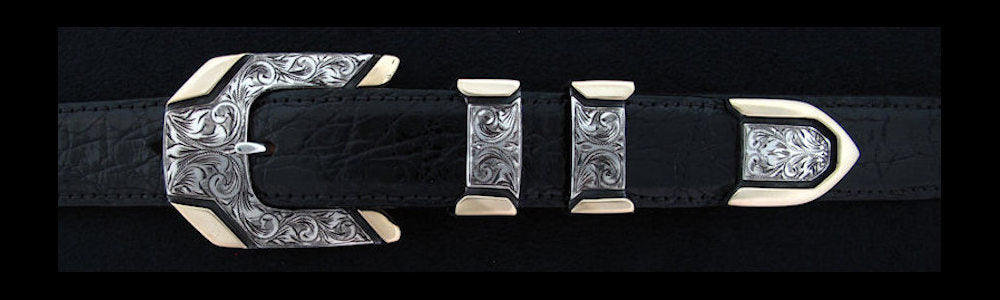 "#0844G ENGRAVED METRO 4 pc Buckle Set with 14k Gold Overlay for 1"" belts. On SALE $958.00 (Sold as complete set only) - Santa Fe Buckle Company"
