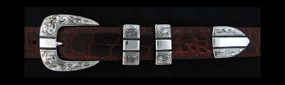 "#0853 ENGRAVED PARALLELS 4 pc Buckle Set for 1"" belts. On SALE $495.00 (Sold as complete set only)"