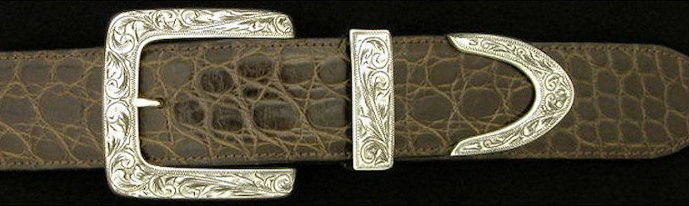 "#0874<sub>3</sub> ENGRAVED CLASSIC SQUARE 3 pc Buckle Set for 1 1/2"" belts. On SALE $670.00 (Sold as complete set only)"
