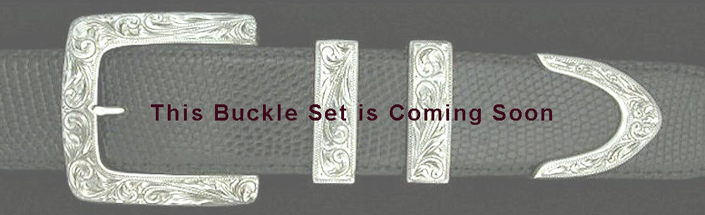 "#0874<sub>4</sub> ENGRAVED CLASSIC SQUARE 4 pc Buckle Set for 1 1/2"" belts. - Santa Fe Buckle Company"