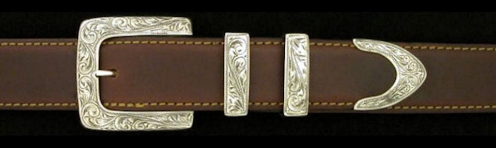 "#0876 ENGRAVED CLASSIC SQUARE 4 pc Buckle Set for 1 1/4"" belts. On SALE $585.00 (Sold as complete set only) - Santa Fe Buckle Company"