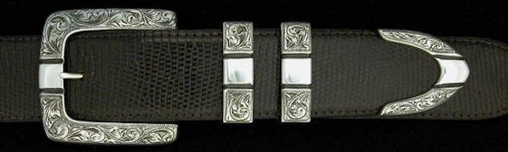 "#0877 ENGRAVED PARALLEL SQUARE 4 pc Buckle Set for 1 1/2"" belts. On SALE $825.00 (Sold as complete set only) - Santa Fe Buckle Company"