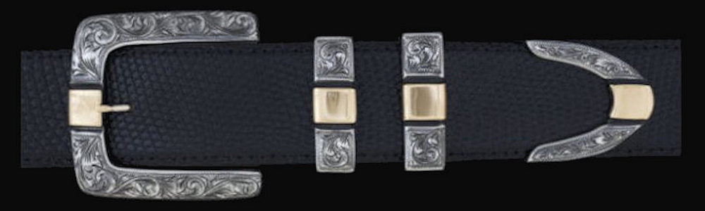 "#0877G ENGRAVED PARALLEL SQUARE with 14k Gold Overlay 4 pc Buckle Set for 1 1/2"" belts. On SALE $1095.00 (Sold as complete set only) - Santa Fe Buckle Company"
