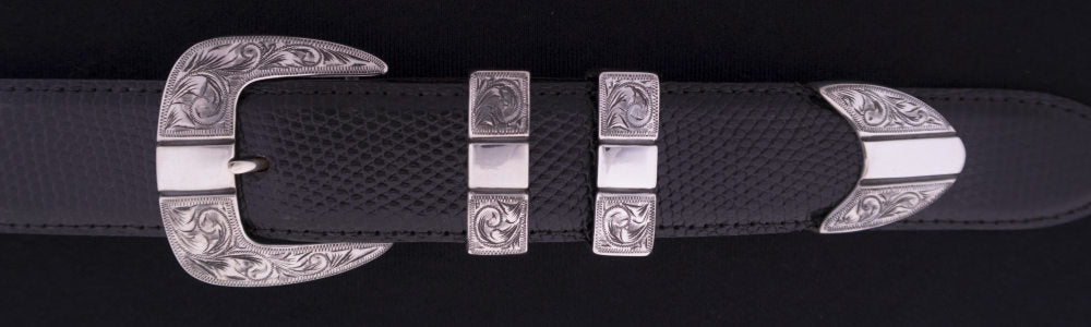 "#0880 ENGRAVED PARALLELS  4 pc Buckle Set for 1 1/4"" belts. On SALE $550.00 (Sold as complete set only) - Santa Fe Buckle Company"