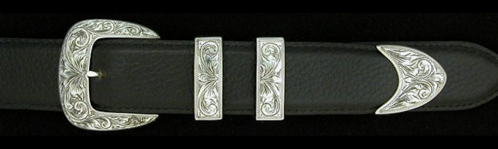 "#0882 ENGRAVED CLASSIC Buckle Set for 1 1/4"" belts. On SALE $575.00 (Sold as complete set only)"