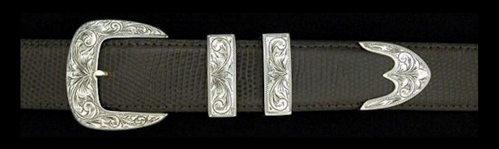 "#0883 ENGRAVED CLASSIC with TRIDENT TIP  4 pc Buckle Set for 1 1/4"" belts. On SALE $575.00 (Sold as complete set only)"