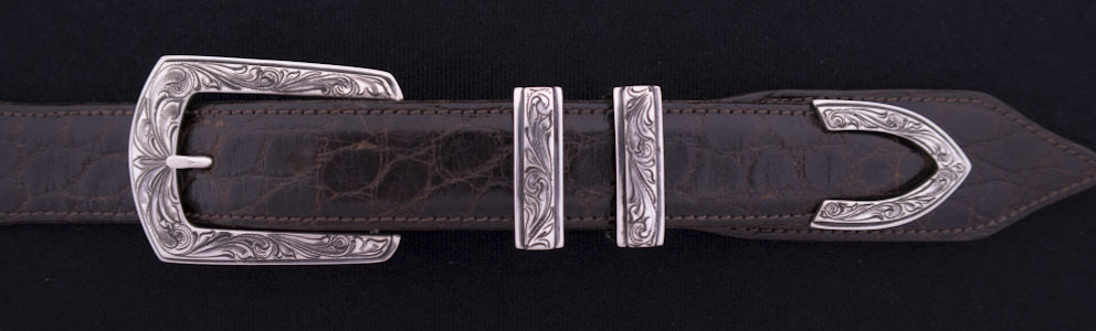 "#0887 ENGRAVED ELEGANT 4-Pc Buckle Set for 1"" belts $575.00."