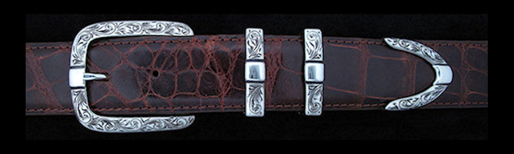 "#0891 ENGRAVED PARALLEL DOUBLE KEEPER 4 pc Buckle Set for 1 1/4"" belts. On SALE $475.00 (Sold as complete set only) - Santa Fe Buckle Company"