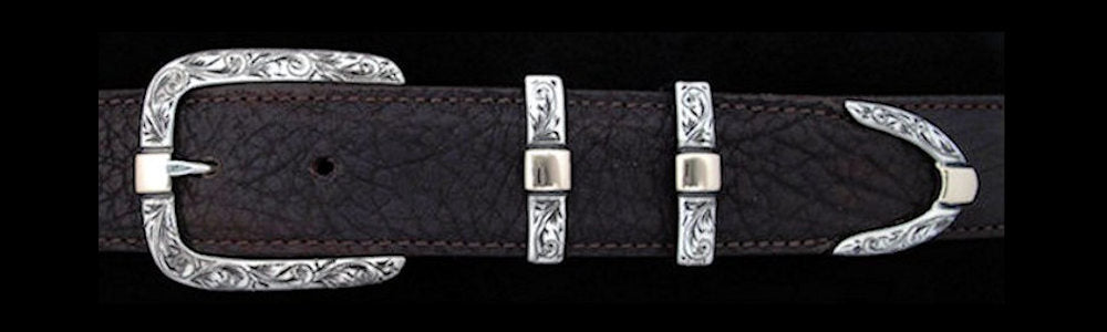 "#0891G ENGRAVED PARALLEL DOUBLE KEEPER with 14k Gold Overlay 4 pc Buckle Set for 1 1/4"" belts. On SALE $745.00 (Sold as complete set only) - Santa Fe Buckle Company"