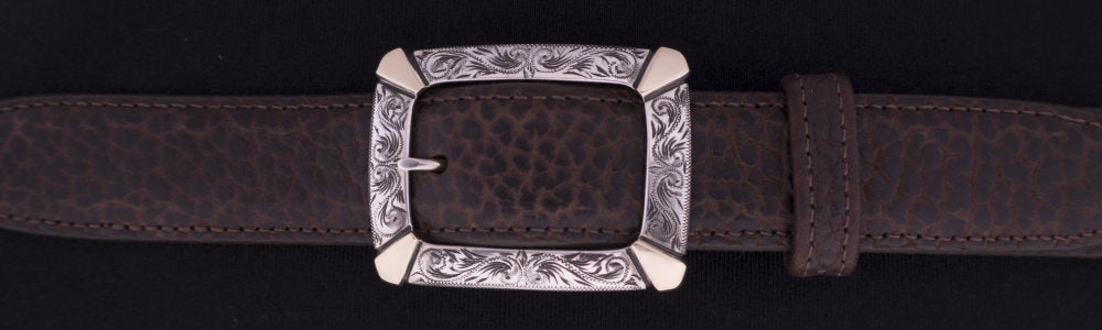 "#0893G ENGRAVED CLASSIC GARRISON  WITH 14K GOLD OVERLAY Single Buckle for 1 1/4"" belts. On SALE $760.00"