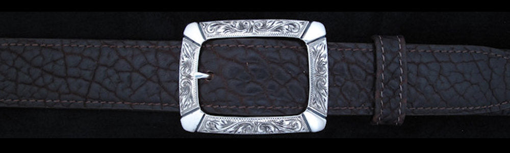 "#0893 ENGRAVED CLASSIC GARRISON  WITH OVERLAY Single Buckle for 1 1/4"" belts. On SALE $420.00"