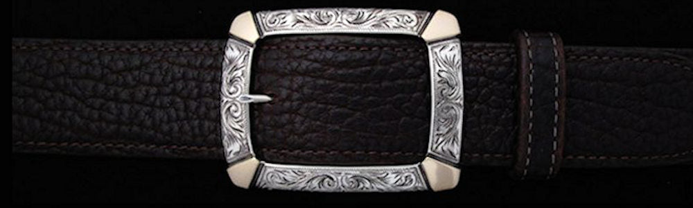 "#0895G ENGRAVED CLASSIC GARRISON with 14k Gold Overlay Single Buckle for 1 1/2"" belts. On SALE $795.00 - Santa Fe Buckle Company"