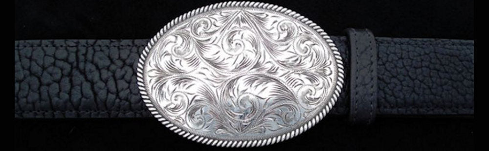 "#0896 ENGRAVED HEAVY ROPE EDGE TROPHY Single Buckle for 1 1/2"" belts. On SALE $595.00 - Santa Fe Buckle Company"