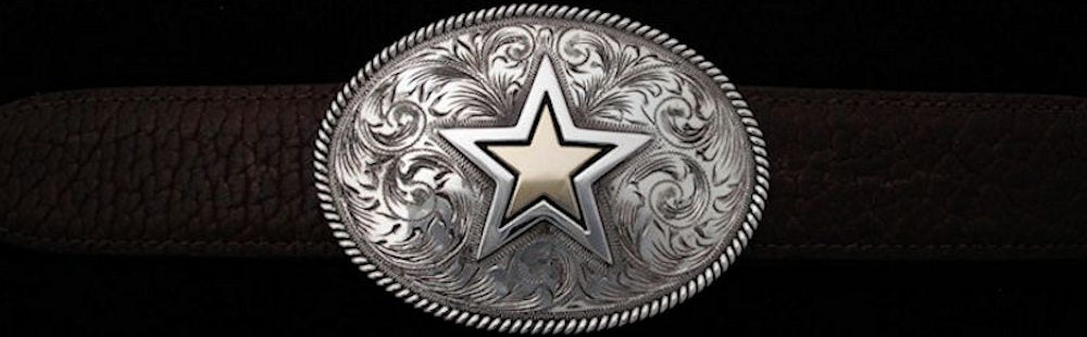"#0896G ENGRAVED HEAVY ROPE EDGE TROPHY with Gold Overlay in Star Single Buckle for 1 1/2"" belts. On SALE $895.00 - Santa Fe Buckle Company"