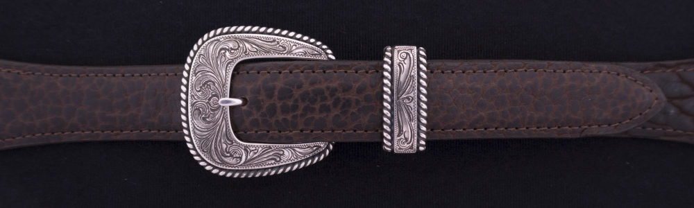 "#0902  ENGRAVED HEAVY ROPE EDGE 4-Pc Buckle Set for 1"" belts $625.00. Smaller Combinations Available by Special order. - Santa Fe Buckle Company"