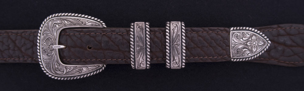 "#0902  ENGRAVED HEAVY ROPE EDGE 4-Pc Buckle Set for 1"" belts $625.00. Smaller Combinations Available by Special order."