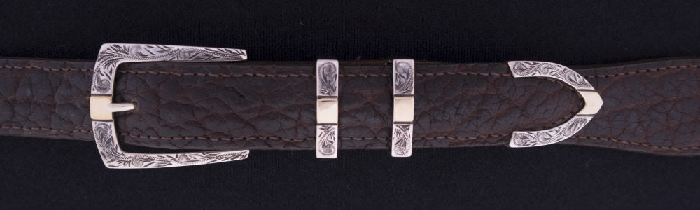 "#0906G ENGRAVED PARALLEL DK2 4 pc Buckle Set with 14k Gold Overlay for 1"" belts. On SALE $635.00 (Sold as complete set only)"