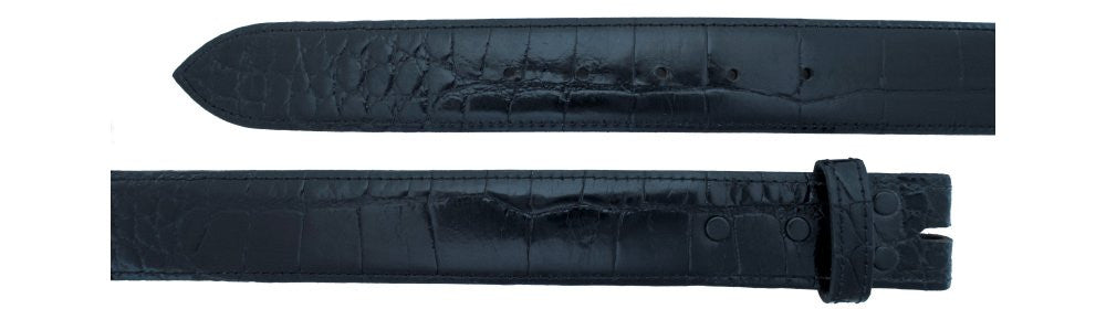 "1 1/2"" Straight Black Alligator Belt $310 - Santa Fe Buckle Company"
