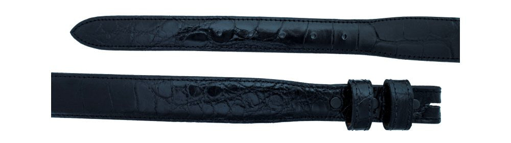 "3/4"" tapered to 1 ¼"" Black Alligator Belt $285 - Santa Fe Buckle Company"
