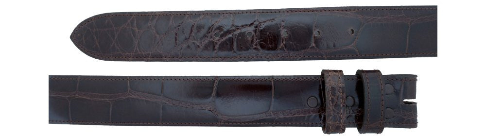 "1 1/2"" Straight Chocolate Alligator Belt $310 - Santa Fe Buckle Company"