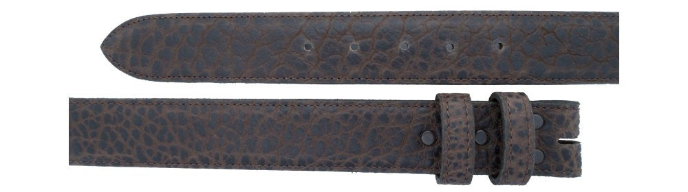 "1 1/2"" Straight Chocolate Bison Belt $95 - Santa Fe Buckle Company"