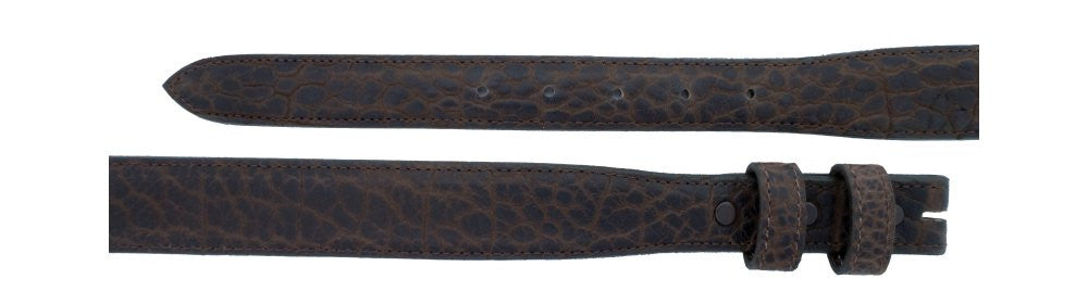 "1"" tapered to 1 ¼"" Chocolate Bison Belt $ 95.00 - Santa Fe Buckle Company"