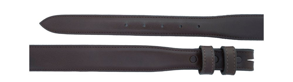 "1"" tapered to 1 ¼"" Chocolate Calf Belt $90 - Santa Fe Buckle Company"