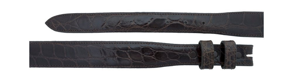 "1"" tapered to 1 ¼"" Chocolate Alligator Belt $285 - Santa Fe Buckle Company"